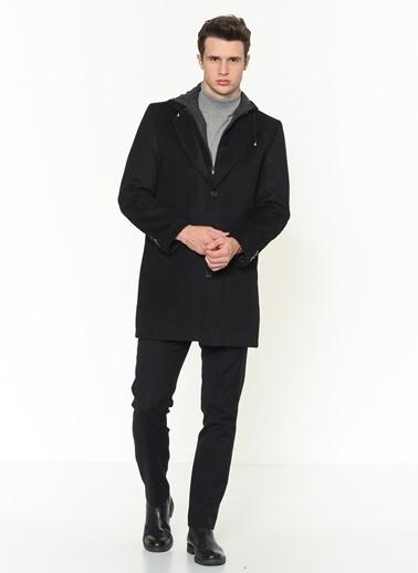 Dewberry Yünlü Düğmeli Erkek Palto Siyah